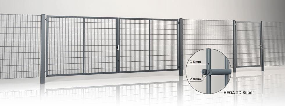 Systemstängsel med GARDIA dubbelbladig grind fylld med svetsad VEGA 2D Super gallerpanel
